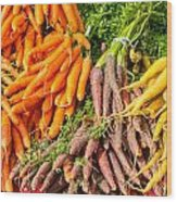 Carrots At The Market Wood Print