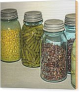 Carrots Vintage Kitchen Glass Jar Canning Wood Print