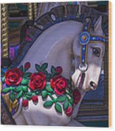 Carrsoul Horse With Roses Wood Print