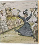 Carry Nation Cartoon, 1901 Wood Print