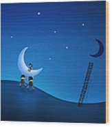 Carry The Moon Wood Print