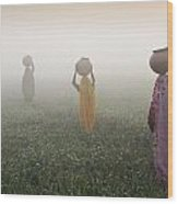 Carrying Water On A Foggy Morn In India Wood Print