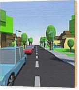 Cars Driving Suburban Streets   Wood Print