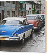 Cars In A Line Wood Print