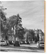 Cars On A Street In Edinburgh Wood Print