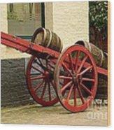 Cart Loaded With Wood Beer Barrels Wood Print
