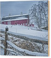 Carter Farm - Litchfield Hills Winter Scene Wood Print by Thomas Schoeller