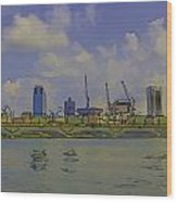 Cartoon - Buildings And Bridge On The Marina Reservoir Wood Print