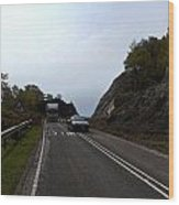 Cartoon - Car And Truck Crossing A Road Repair Section Of Highway In Scotland Wood Print