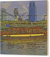 Cartoon - Colorful River Cruise Boat In Singapore Next To A Bridge Wood Print