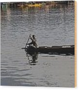Cartoon - Kashmiri Man Rowing A Small Wooden Boat In The Waters Of The Dal Lake Wood Print