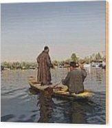 Cartoon - Kashmiri Men Plying A Wooden Boat In The Dal Lake In Srinagar Wood Print