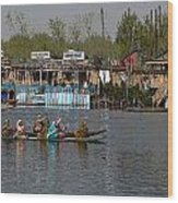 Cartoon - Ladies On 2 Wooden Boats On The Dal Lake With The Background Of Houseboats Wood Print