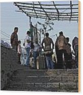 Cartoon - Locals And Tourists Standing At The Top Of The Steps Near The Dal Lake Wood Print