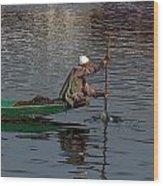 Cartoon - Man Plying A Wooden Boat On The Dal Lake Wood Print