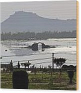 Cartoon - Shalimar Garden - The Dal Lake And Mountains In The Background In Srinagar Wood Print