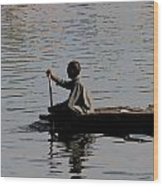 Cartoon - Splashing In The Water Caused Due To Kashmiri Man Rowing A Small Boat Wood Print