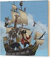Cartoon Animal Pirate Ship Wood Print