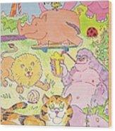 Cartoon Animals Wood Print