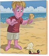 Cartoon Boy With Crab On Beach Wood Print