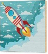 Cartoon Rocket Taking Off Against The Wood Print