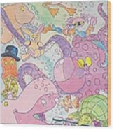 Cartoon Sea Creatures Wood Print
