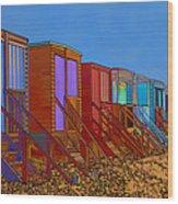 Cartoonised Beach Huts Wood Print