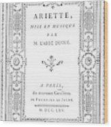 Cartouche, 1765 Wood Print