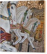 Caruosel Horses Wood Print