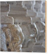 Carved Elephant Sculpture On Columns Wood Print