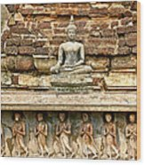 Carved Figures At Wat Mahathat In 13th Century Sukhothai Histori Wood Print