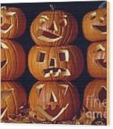 Carved Pumpkins  Wood Print