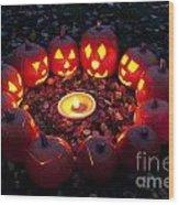 Carved Pumpkins With Pumpkin Pie Wood Print