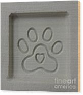 Carved Sand Paw Print Wood Print