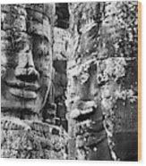 Carved Stone Faces In The Khmer Temple Wood Print