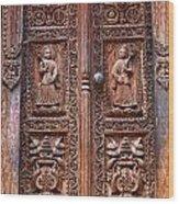 Carved Wooden Door At Bhaktapur In Nepal Wood Print