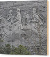 Carving Of Confederate Generals On Stone Mountain Wood Print