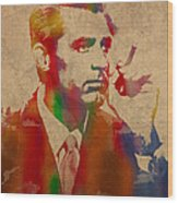 Cary Grant Watercolor Portrait On Worn Parchment Wood Print