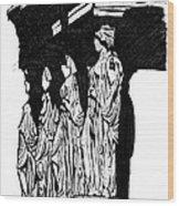Caryatids In High Contrast Wood Print