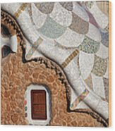 Casa Del Guarda Details In Park Guell Wood Print