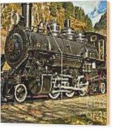 Cascade Mountain Train Wood Print