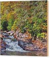 Cascade Of Water Wood Print