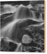 Cascades In Black And White Wood Print