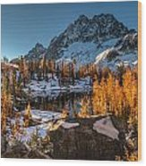 Cascades Ring Of Larches Wood Print by Mike Reid