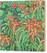 Cascading Day Lilies Wood Print