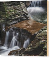Cascading Glen Wood Print