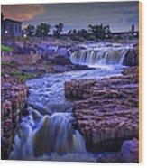 Cascading Waterfalls At Sunset Wood Print