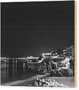 Cascais At Night Wood Print