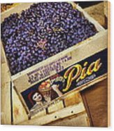 Case Of Sangiovese Grapes Wood Print