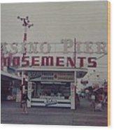 Casino Pier Amusements Seaside Heights Nj Wood Print by Joann Renner